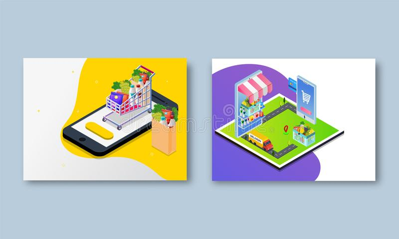 Isometric collection of online food delivery concept based web t. Emplate on sky blue background vector illustration