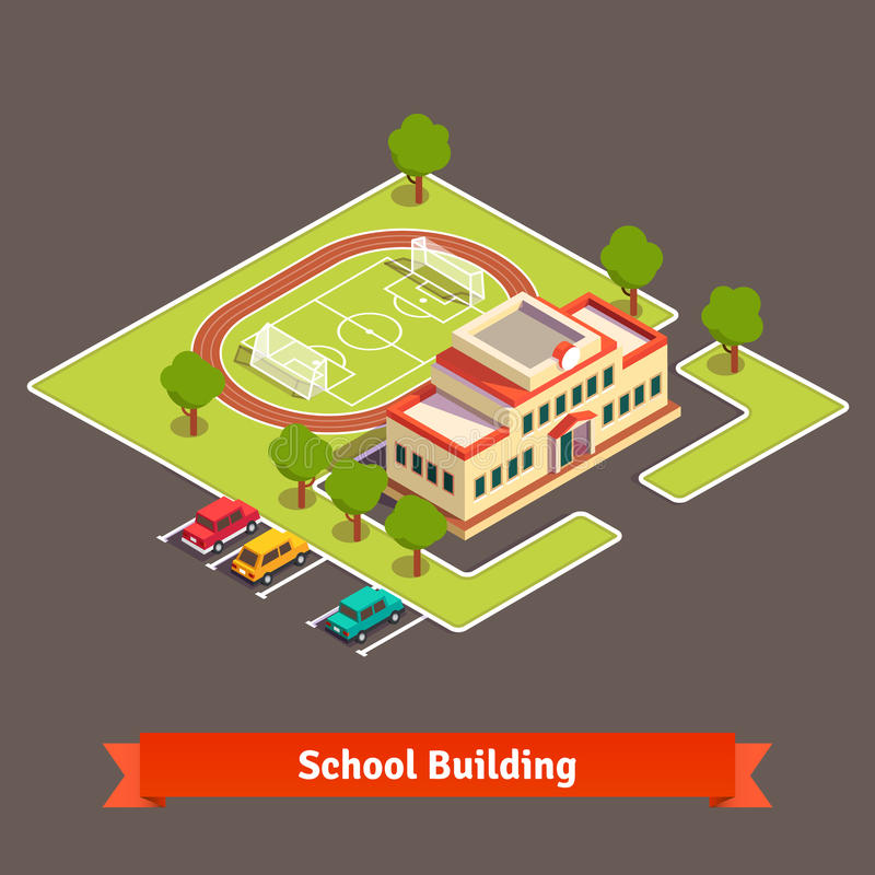 Isometric college campus or school building. With soccer field in the courtyard and parking lot. Flat style vector illustration on white background stock illustration