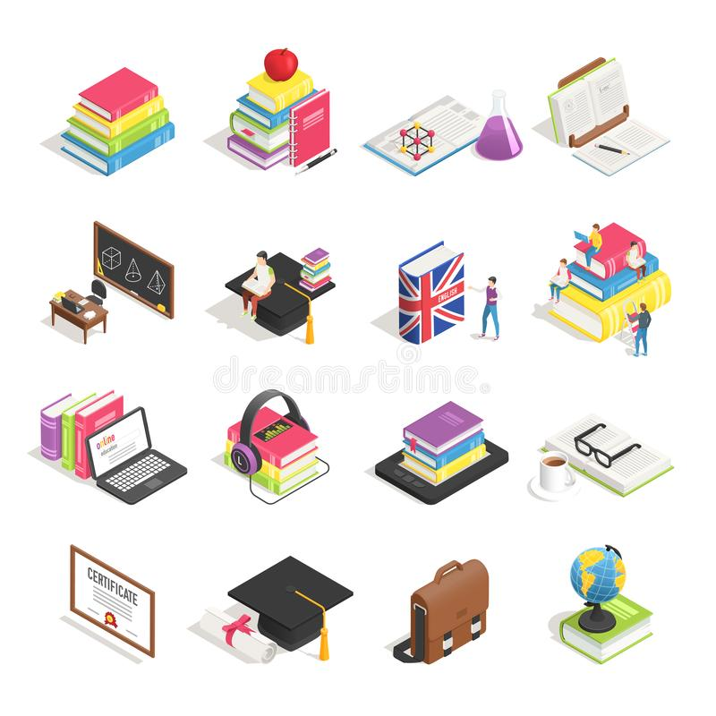Isometric college education icon. School blackboard, students briefcase and professor glasses. Books icons vector set royalty free illustration