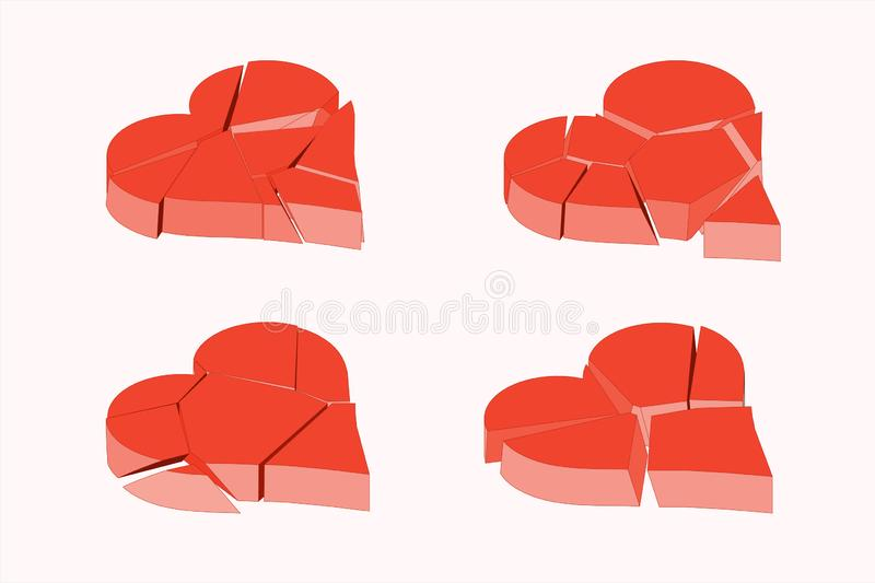 Isometric color concept red broken heart. This vector illustration elements can be used in different romantic love. Projects. Break up concept symbol exploding stock illustration