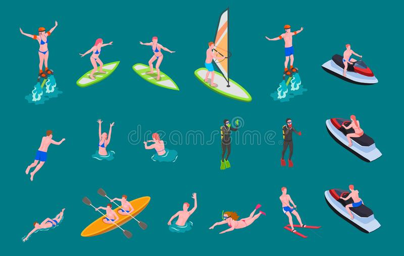 Isometric Colored Water Sports Icon Set. With people swim surf involved in scuba diving windsurfing and other vector illustration royalty free illustration