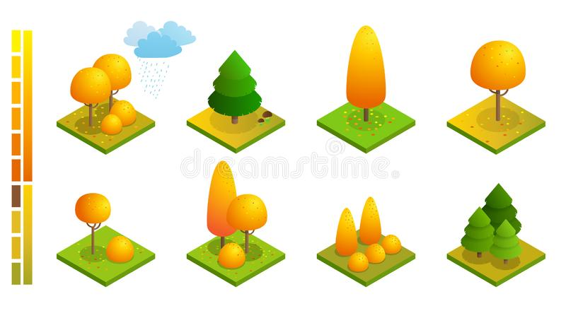 Isometric colorful autumn trees set. Yellow orange fall tree and autumnal garden flat illustration. For infographics vector illustration