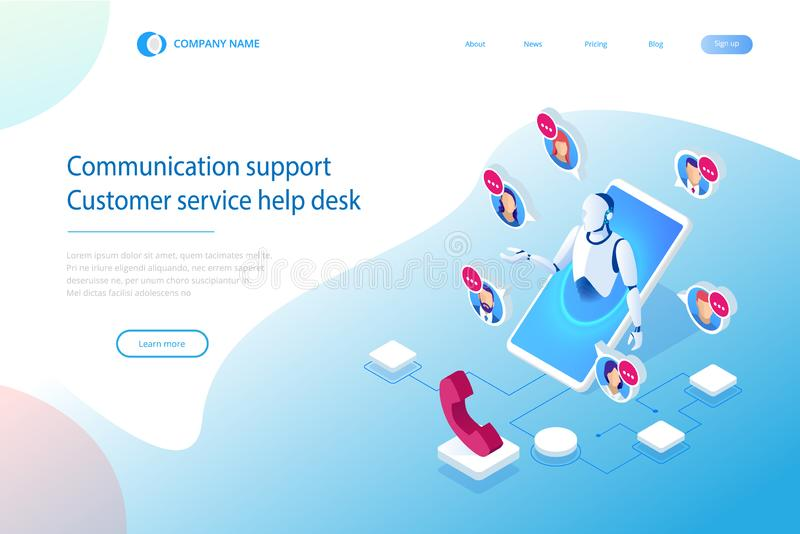 Isometric Communication support phone operator, Call center and Customer service help desk. Service desk consultant royalty free illustration