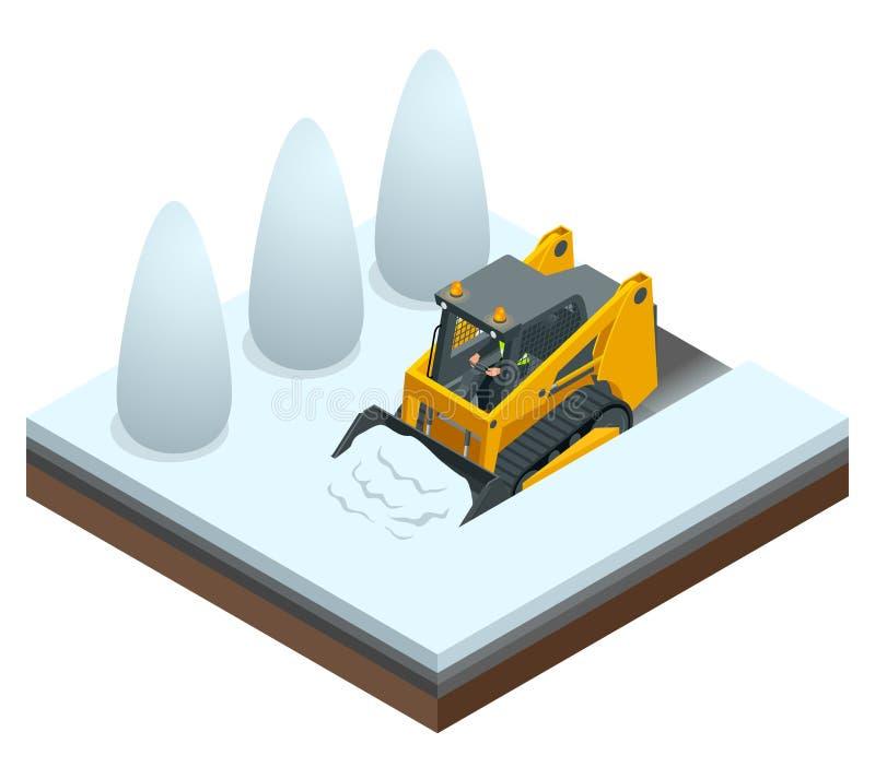 Isometric Compact Excavators. Orange Steer Loader isolated on a white background. Isometric Compact Excavators. Orange Steer Loader isolated on a white stock illustration
