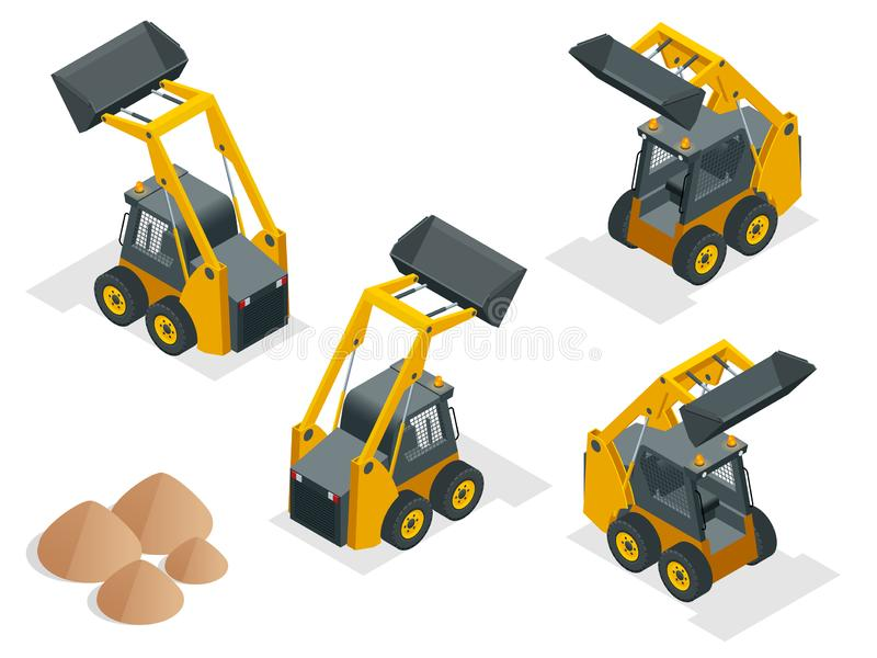 Isometric Compact Excavators. Orange wheel Steer Loader isolated on a white background.  stock illustration