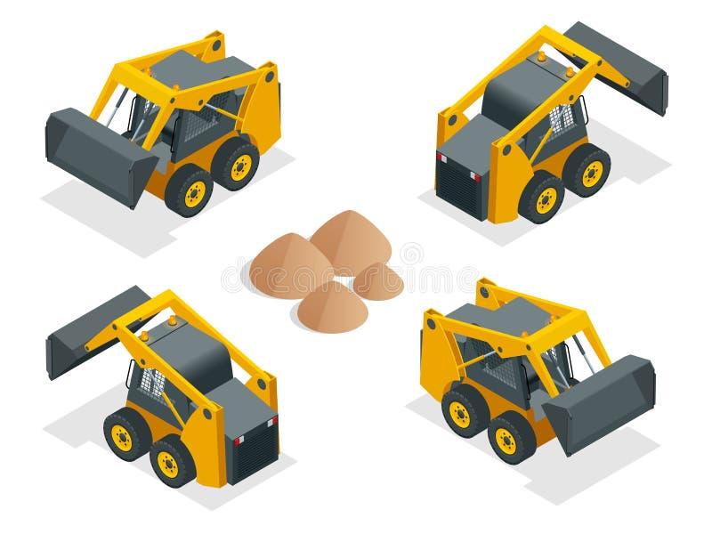 Isometric Compact Excavators. Orange wheel Steer Loader isolated on a white background.  royalty free illustration