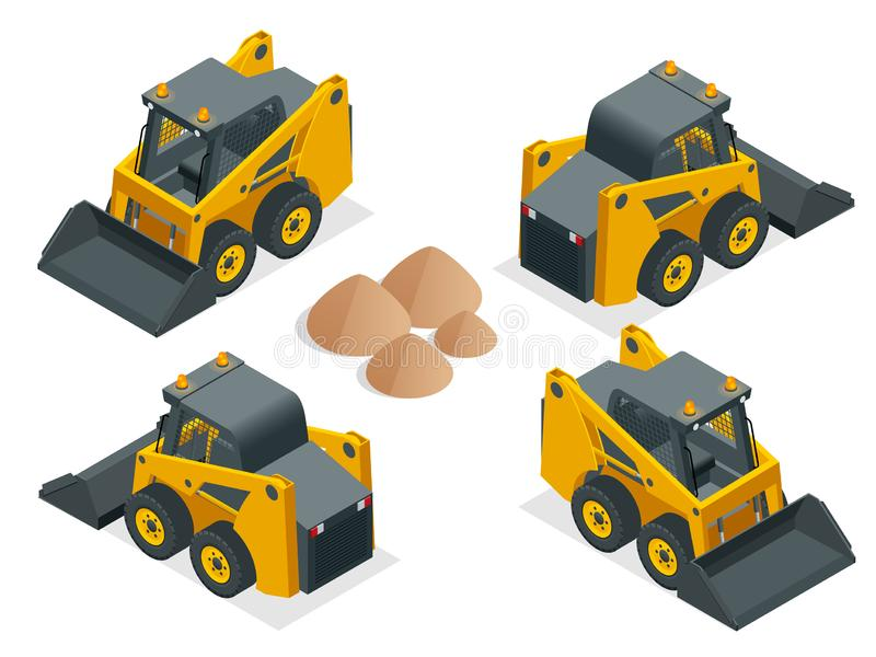 Isometric Compact Excavators. Orange wheel Steer Loader isolated on a white background.  vector illustration
