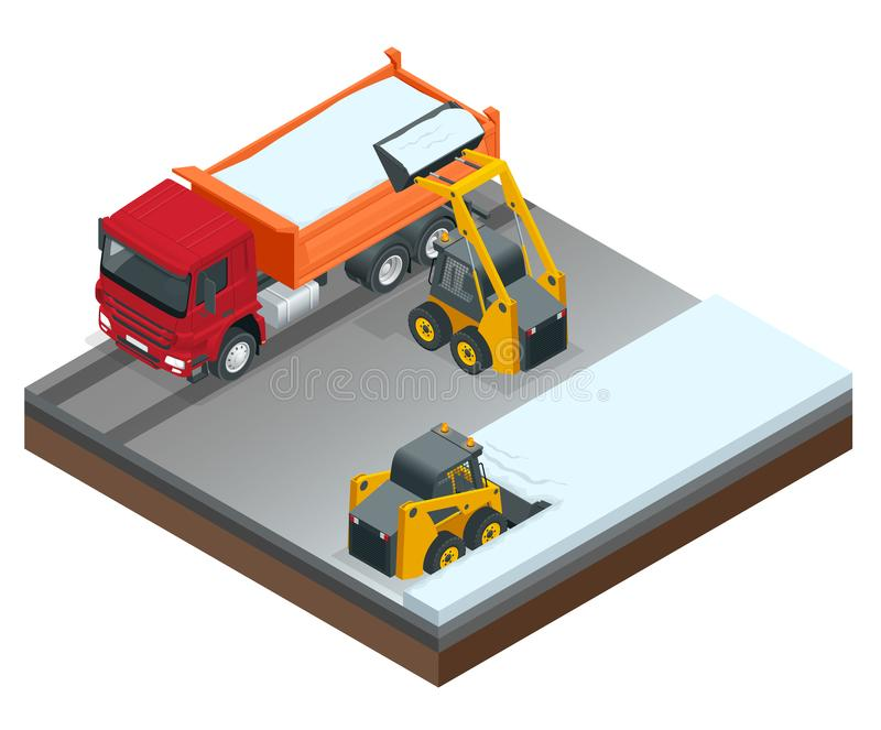 Isometric Compact Excavators. Small excavator bobcat and truck working on the street cleaning snow isolated on a white. Background royalty free illustration