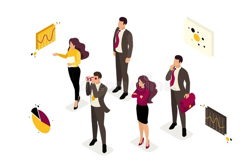 Isometric We are Looking Employees in the Team. Isometric company employees are looking for professionals in the team. Concept for web design stock illustration