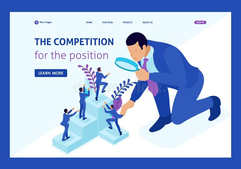 Isometric Big Boss Chooses Small People. Isometric competitive struggle for career growth, businessman looks at candidates through a magnifying glass. Website royalty free illustration