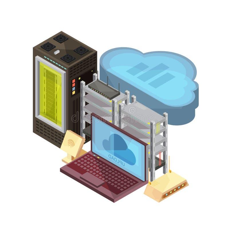 Data Cloud Isometric Composition stock illustration