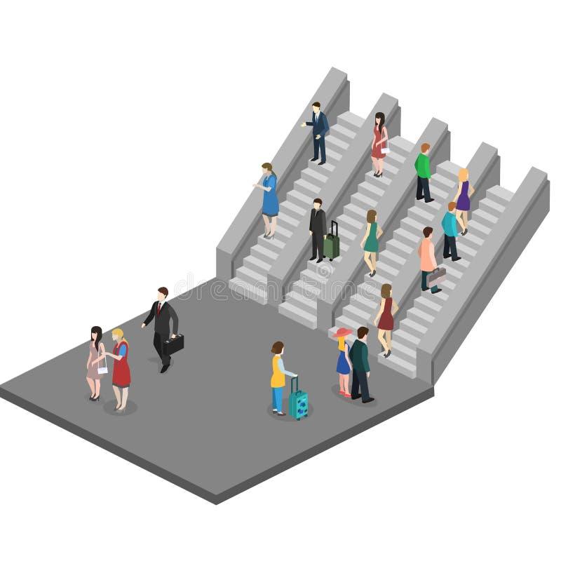 Isometric composition depicting subway entrance underground stairs escalator stock illustration