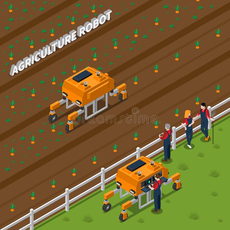 Agricultural Robot Isometric Composition vector illustration