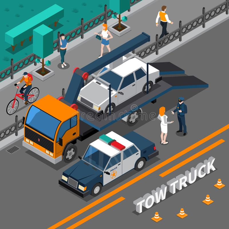 Tow Truck Isometric Composition stock illustration