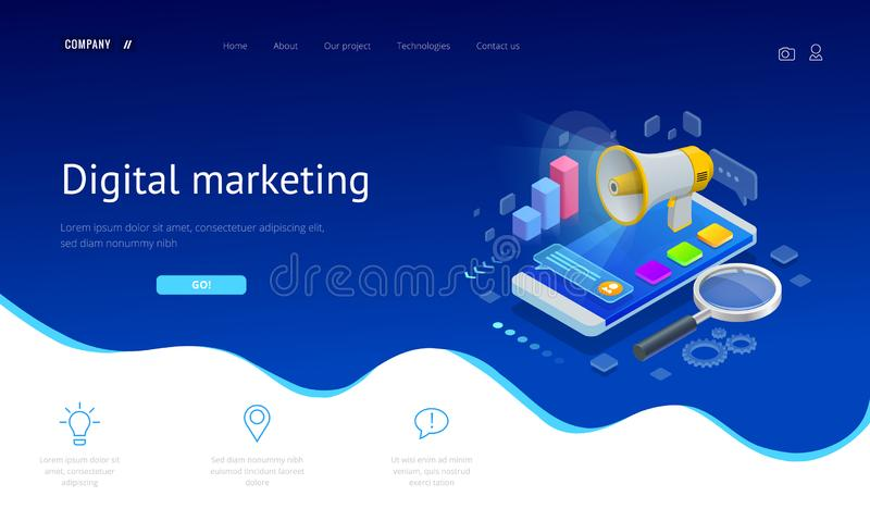 Isometric concept of analytics, strategy, investment, management, Investment, and virtual finance. Communication and. Digital marketing stock illustration