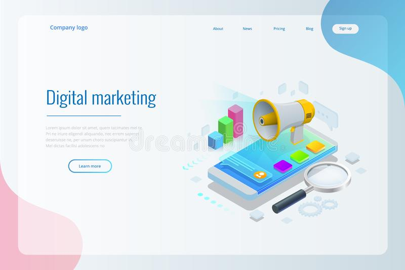 Isometric concept of analytics, strategy, investment, management, Investment, and virtual finance. Communication and. Digital marketing vector illustration