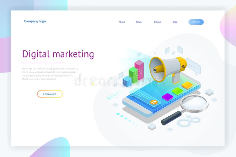 Isometric concept of analytics, strategy, investment, management, Investment, and virtual finance. Communication and vector illustration