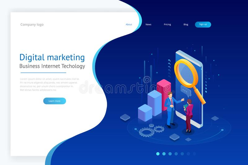 Isometric concept of analytics, strategy, investment, management, Investment, and virtual finance. Communication and. Digital marketing royalty free illustration