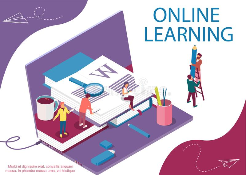 Isometric concept with books and characters for learning or teaching, education vector illustration