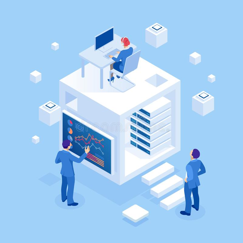 Isometric concept of business analysis, analytics, research, strategy statistic, planning, marketing, study of. Performance indicators. Investment in securities royalty free illustration
