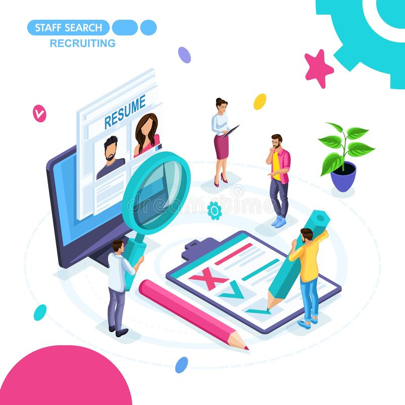 Isometric concept of business, search for employees online, recruiting, resume, outsourcing. Young entrepreneurs are working stock illustration