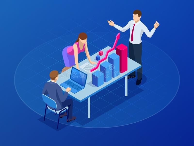 Isometric concept for business teamwork and digital marketing, creative innovation. Web banner flat design of promotion royalty free illustration
