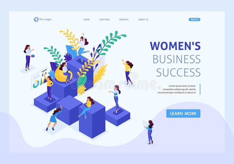 Isometric Career Ladder for Women, Success. Isometric concept career ladder for women, success in big business. Business lady succeeds. Website Template Landing stock illustration