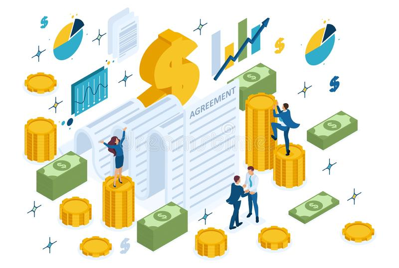 Isometric Partners Conclude an Agreement. Isometric concept of creating a financial agreement, partners conclude an agreement. Concept for web design stock illustration