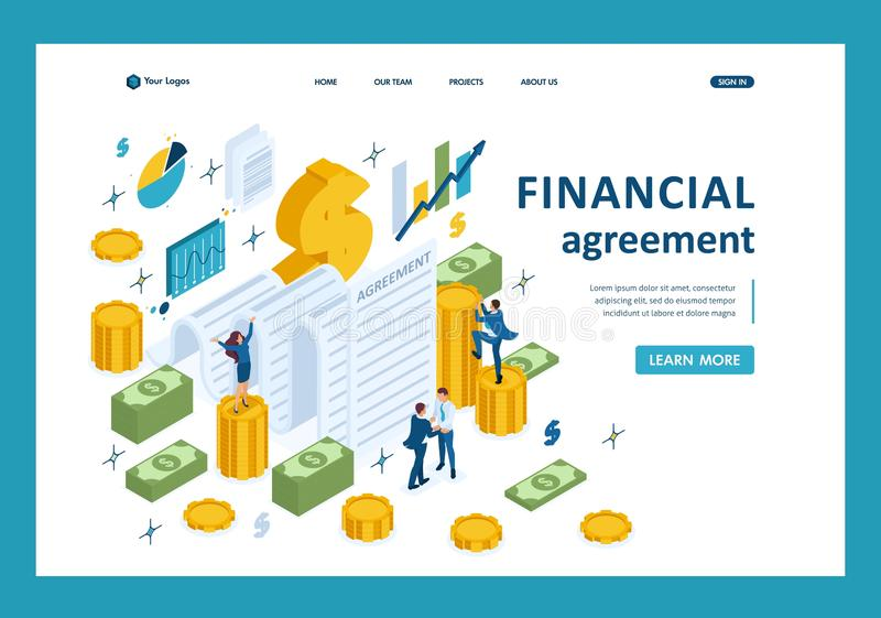 Isometric Partners Conclude an Agreement. Isometric concept of creating a financial agreement, partners conclude an agreement. Template Landing page stock illustration