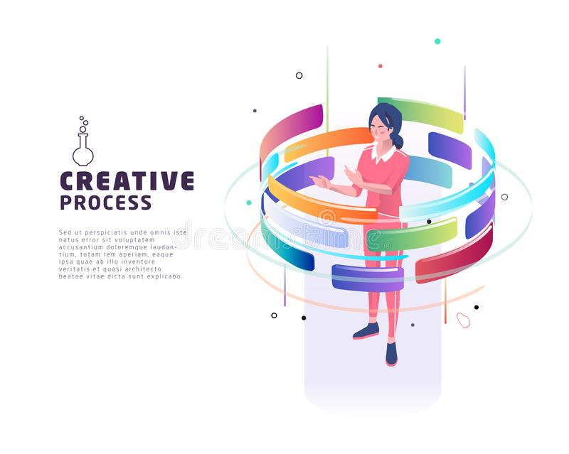 Isometric concept of creative process. Business concept. Isometric concept of creative process. Woman and augmented reality. Business concept. Vector royalty free illustration