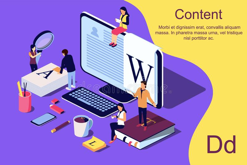Isometric concept creative writing or blogging. vector illustration