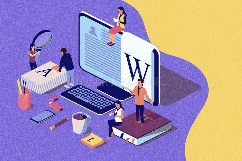 Isometric concept creative writing or blogging, education and content management for web page, vector illustration