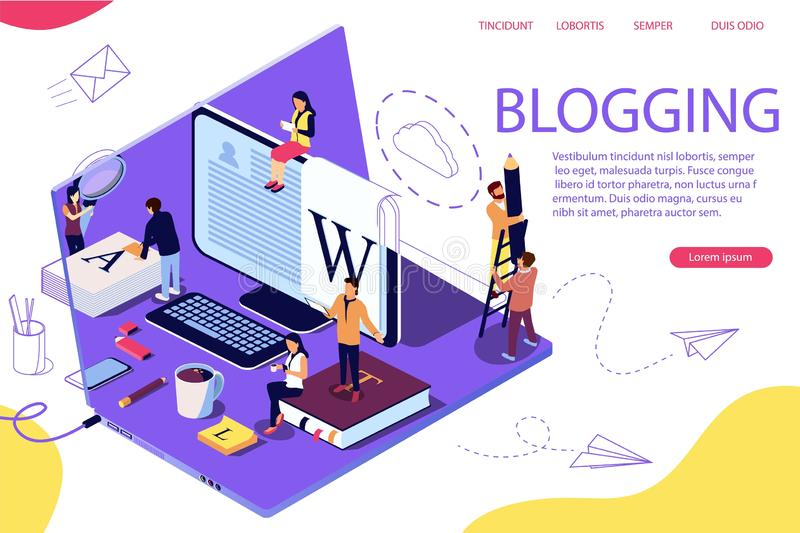 Isometric concept creative writing or blogging, royalty free illustration