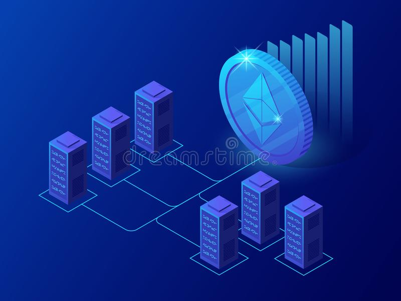 Isometric concept of Cryptocurrency and Blockchain concept. Farm for mining ethereum coins royalty free illustration