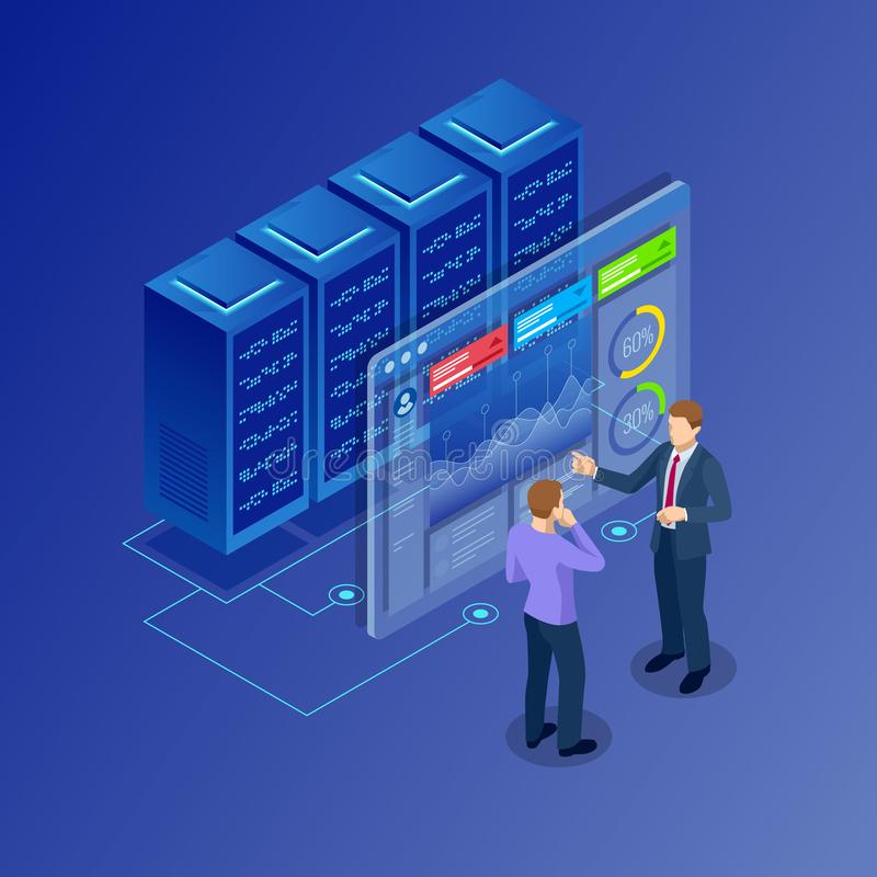 Isometric concept of data network management. Businessmans in data center room. Hosting server and computer database. royalty free illustration