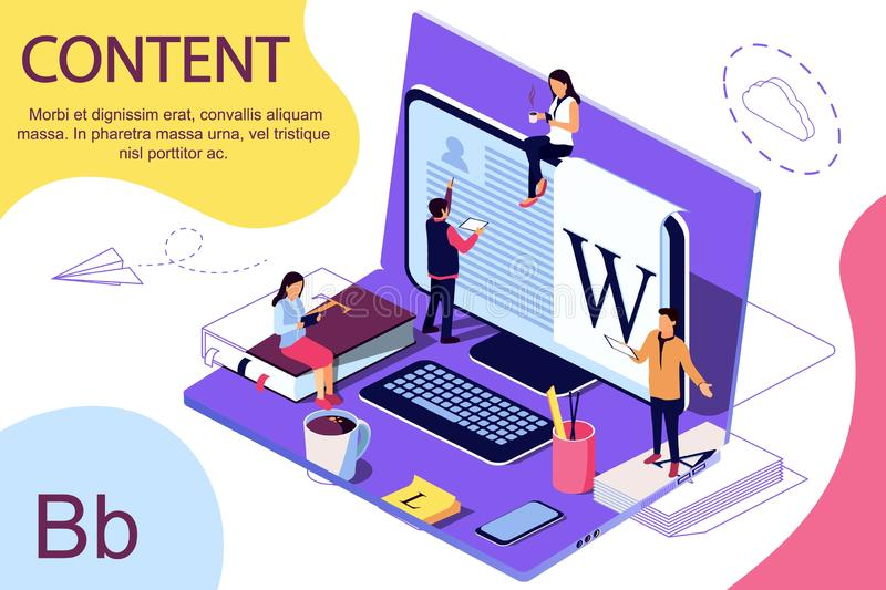 Isometric concept Education. Vector illustration for online education, online training,. Internet studying, online book, tutorials. Laptop as background. Double royalty free illustration