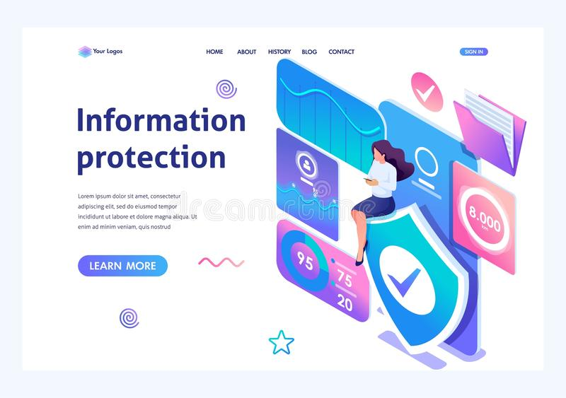 Isometric concept Girl installs online application to protect data on your phone. Information protection. Landing page stock illustration