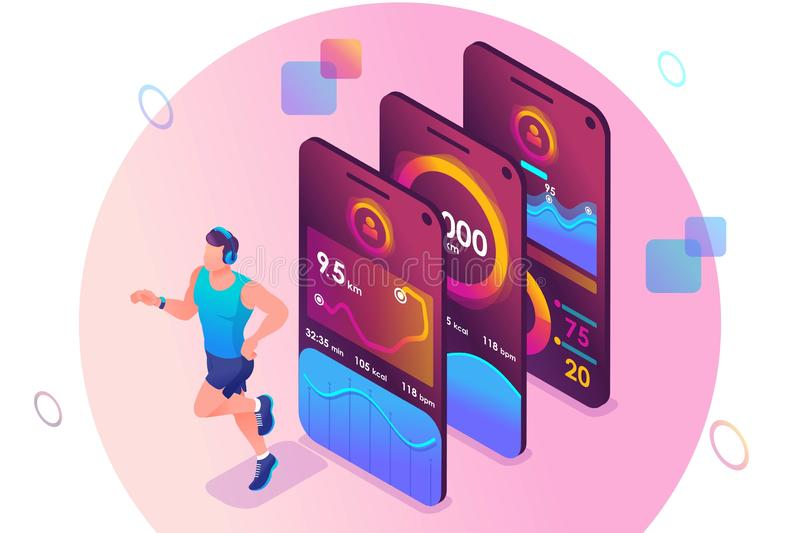 Isometric concept The mobile app tracks a person`s training. Athlete training, a man running. Concept for web design.  royalty free illustration