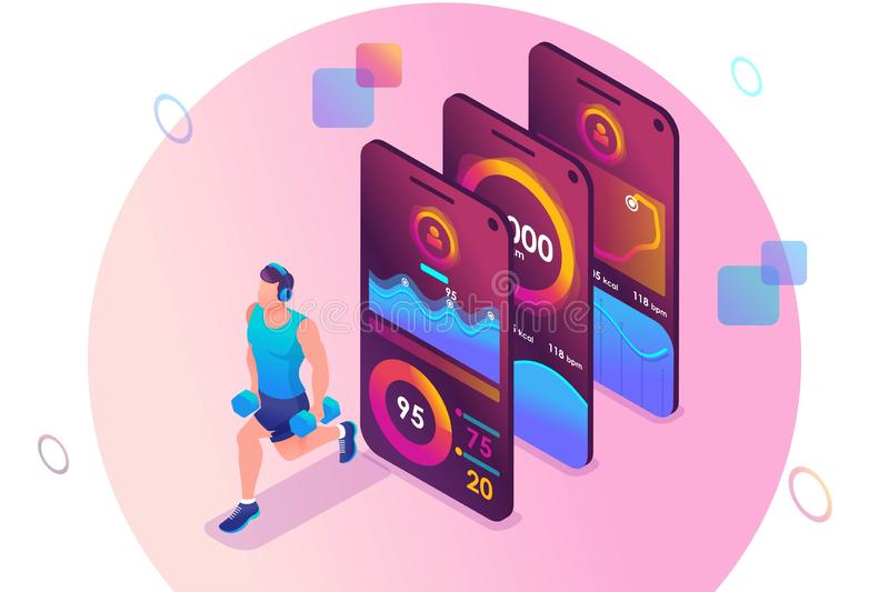 Isometric concept The mobile app tracks a person`s training. The athlete trains the major muscle groups. Concept for web design.  stock illustration