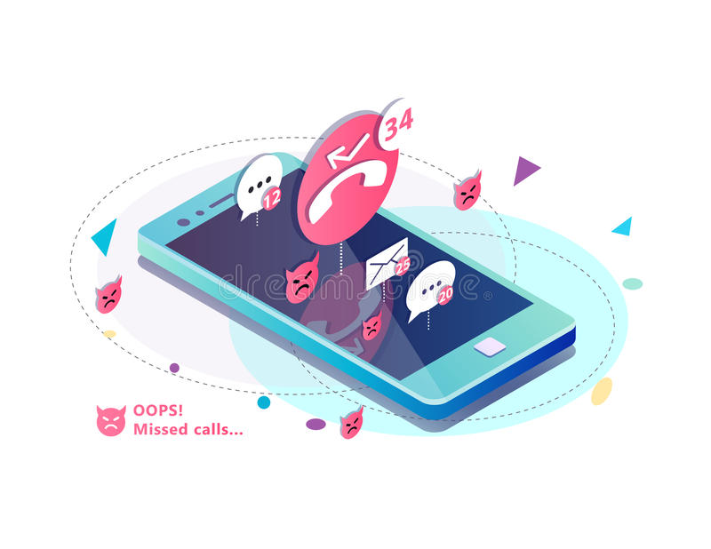 Isometric concept with mobile phone, missed calls, icons of messages. sms and mails notification. Vector illustration royalty free illustration