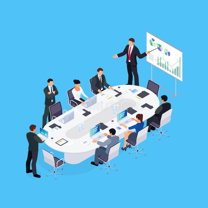 Isometric business conference. vector illustration