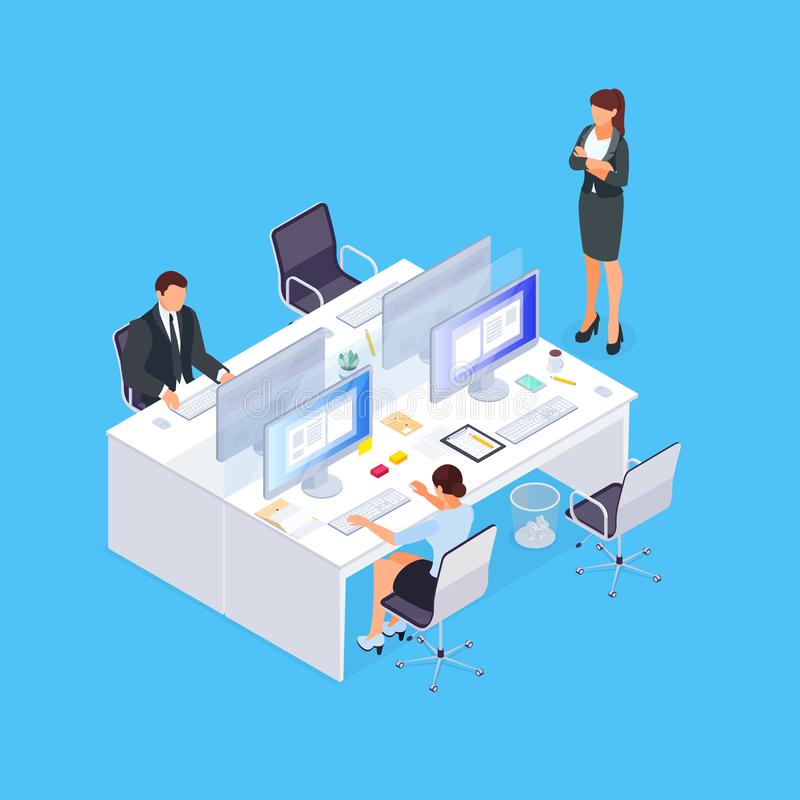 Isometric concept of office life. stock illustration