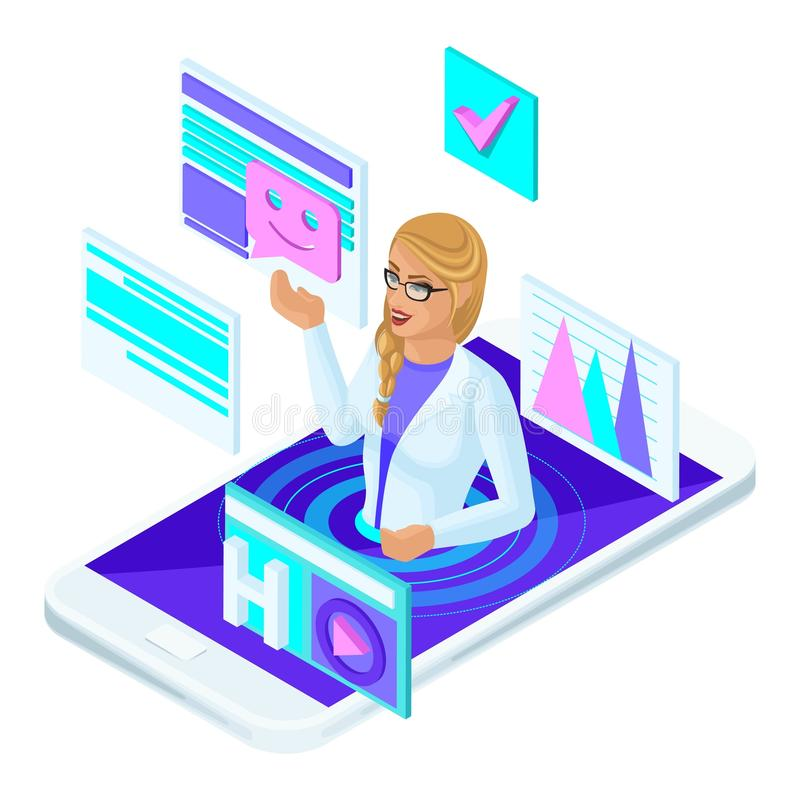 Isometric concept of online consultation of a female doctor of medicine, a social site with a live doctor`s communication. And competent advice royalty free illustration