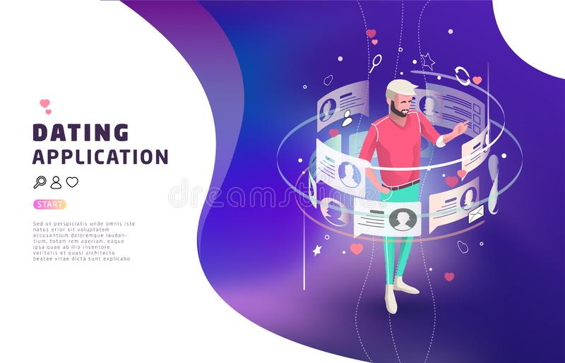 Isometric concept of online dating and virtual communication. royalty free illustration
