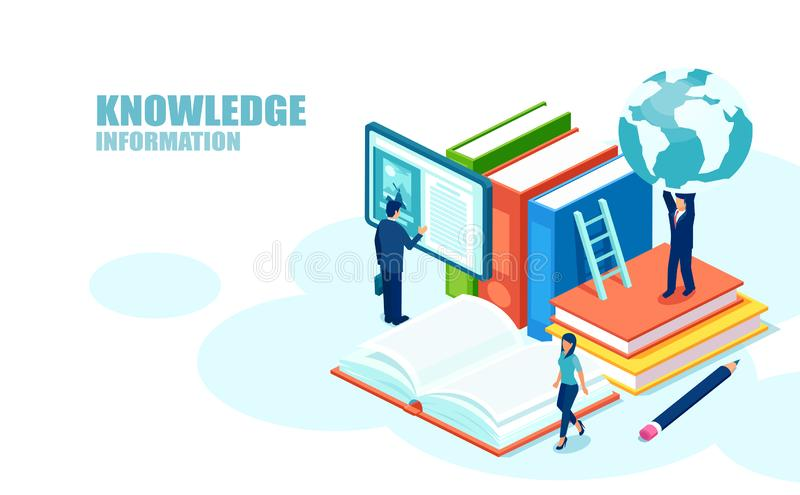 Isometric concept of online global education training courses, and digital library stock illustration