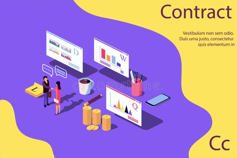 Isometric Concept Performance evaluation success business royalty free illustration