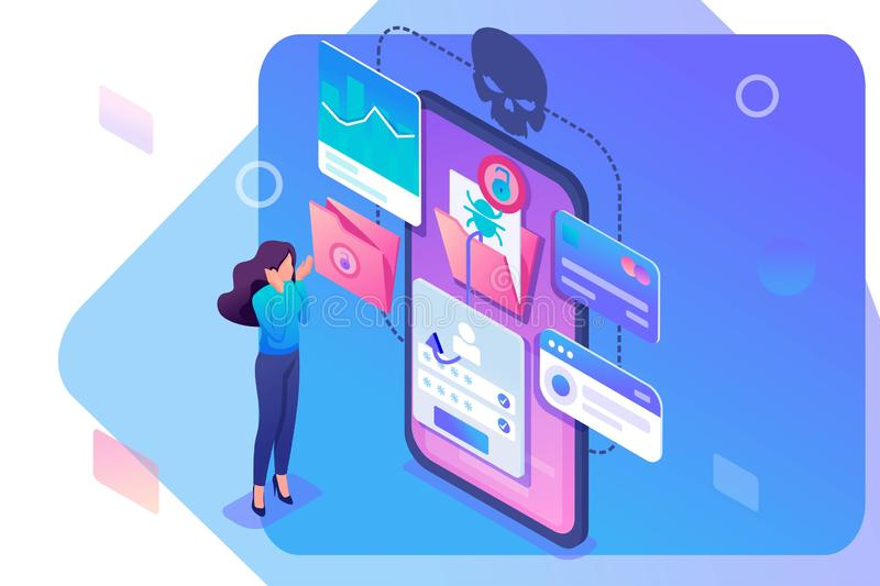 Isometric concept Phishing link, theft of data from the mobile application, credit card data and user passwords, the girl in shock vector illustration