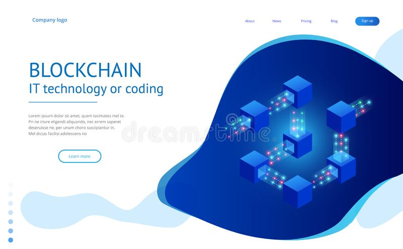 Isometric concept of quantum computers, blockchain, IT technology or coding. Information blocks in cyberspace stock illustration
