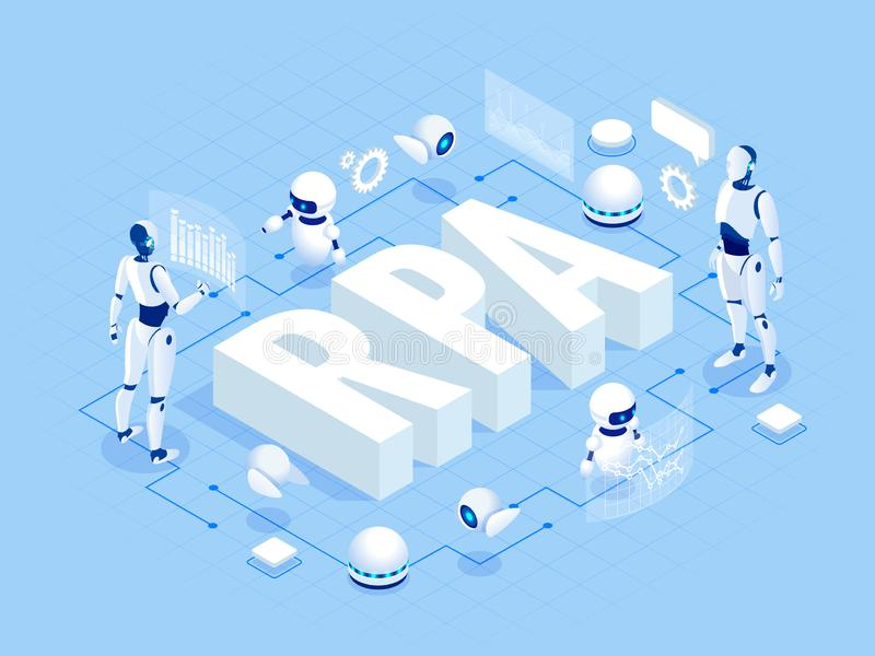 Isometric concept of RPA, artificial intelligence, robotics process automation, ai in fintech or machine transformation. stock illustration