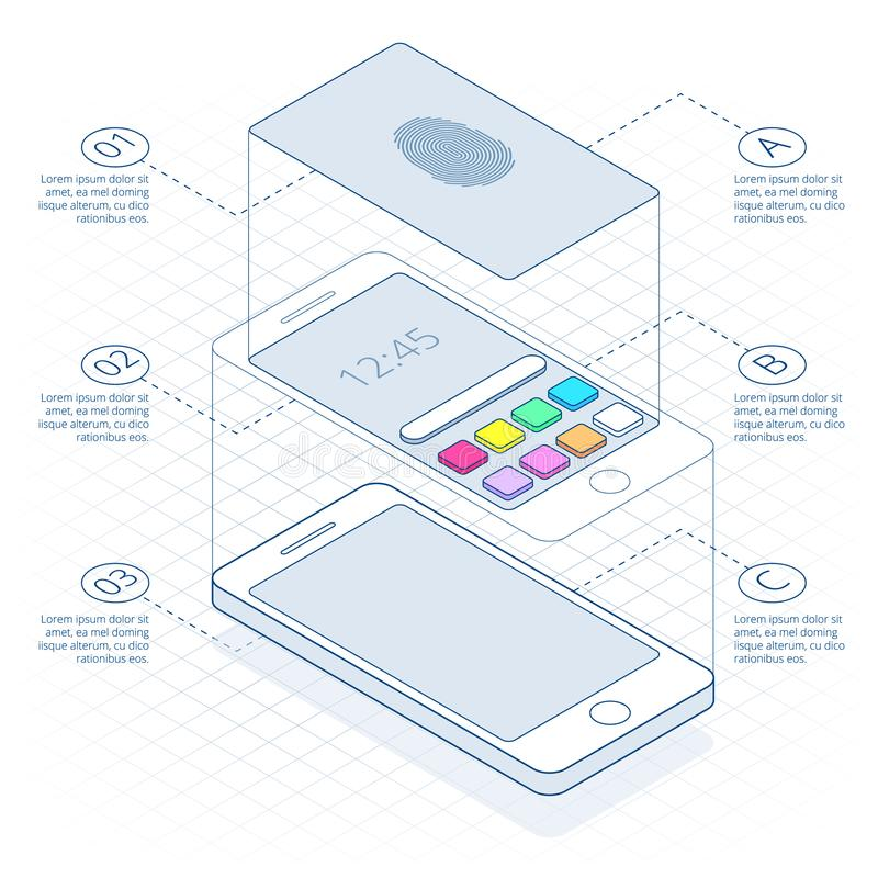 Isometric concept of scanning fingerprint on smartphone, on outline. Unlock mobile phone. Illustration of identification. Of the user on a fingerprint in the stock illustration
